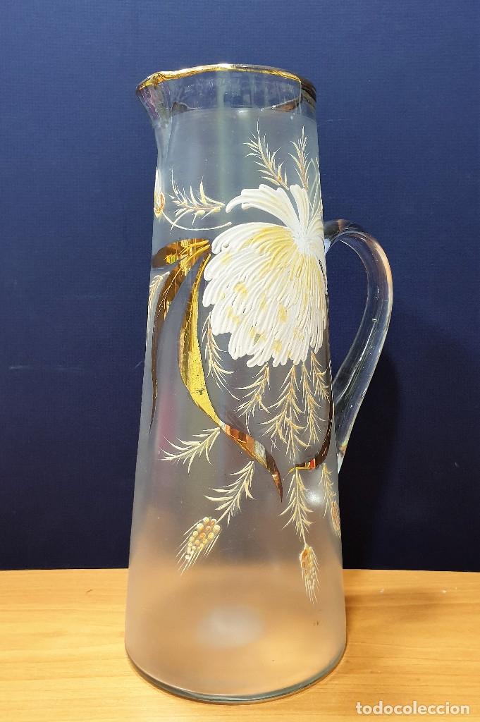 Antigüedades: Jarra de cerveza de cristal esmaltado con borde dorado. La Industria, fábrica de vidrios de Gijón. - Foto 2 - 153152474