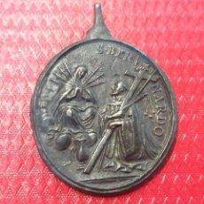 Antigüedades: - 5 CMTS. GRAN CALIDAD.MEDALLA, SIGLO XVIII, APARICION VIRGEN A SAN BERNARDO. Lote 146453354