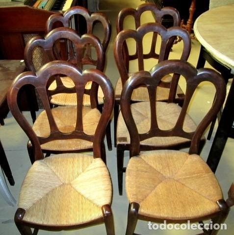 Antigüedades: 6 sillas isabelinas rusticas antiguas, DE NOGAL - Foto 2 - 153184798