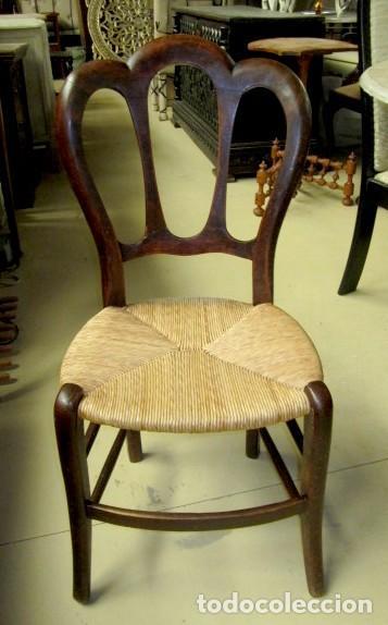 Antigüedades: 6 sillas isabelinas rusticas antiguas, DE NOGAL - Foto 3 - 153184798