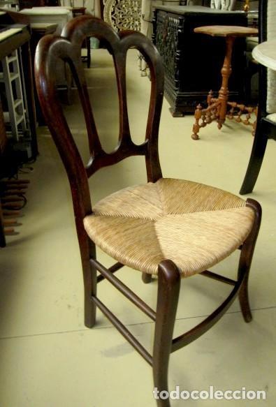 Antigüedades: 6 sillas isabelinas rusticas antiguas, DE NOGAL - Foto 4 - 153184798