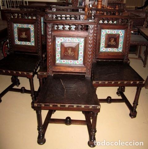 SILLERIA ANTIGUA DE 8 SILLAS EN MADERA DE NOGAL (Antigüedades - Muebles Antiguos - Sillas Antiguas)