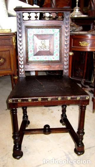 Antigüedades: Silleria antigua de 8 sillas en madera de nogal - Foto 2 - 153185242