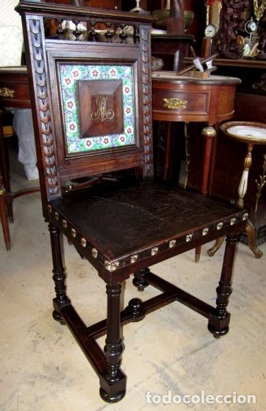 Antigüedades: Silleria antigua de 8 sillas en madera de nogal - Foto 7 - 153185242