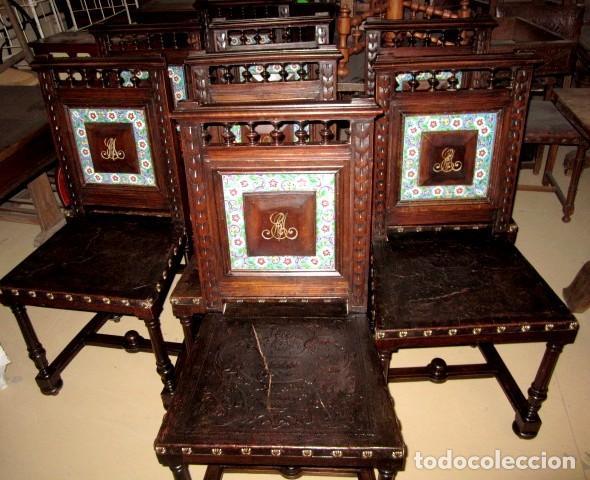 Antigüedades: Silleria antigua de 8 sillas en madera de nogal - Foto 11 - 153185242