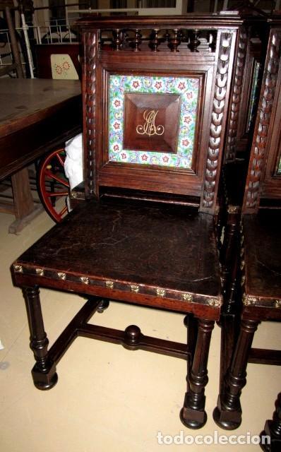 Antigüedades: Silleria antigua de 8 sillas en madera de nogal - Foto 12 - 153185242