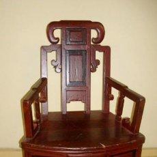 Antigüedades: SILLON CHINO ANTIGUO DE RINCON, POLICROMADO . Lote 153187306