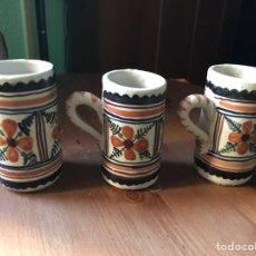 Antiquités: 3 JARRITAS DE CERÁMICA DE TOLEDO, PINTADAS A MANO.. Lote 153199501