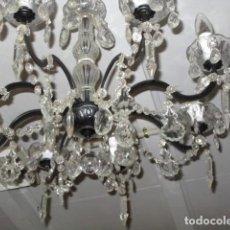 Antigüedades: LAMPARA DE TECHO DE CRISTAL CON LAGRIMAS . Lote 153222194