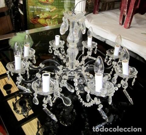 Antigüedades: Lampara de techo de cristal con lagrimas - Foto 2 - 153222194