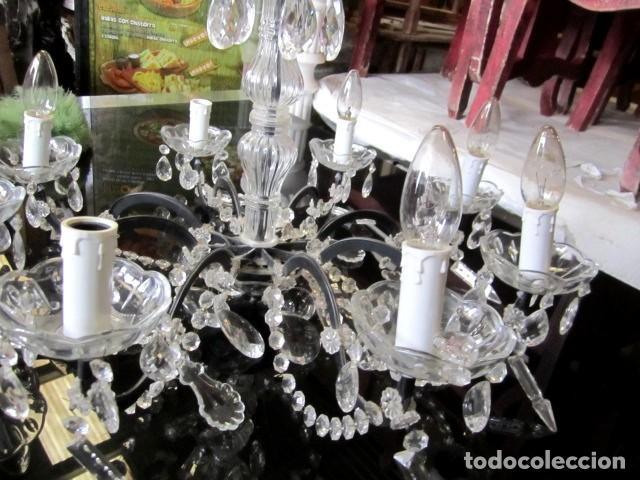 Antigüedades: Lampara de techo de cristal con lagrimas - Foto 5 - 153222194