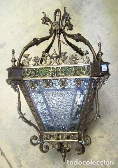 FAROL ANTIGUO DE BRONCE SXIX (Antigüedades - Iluminación - Faroles Antiguos)