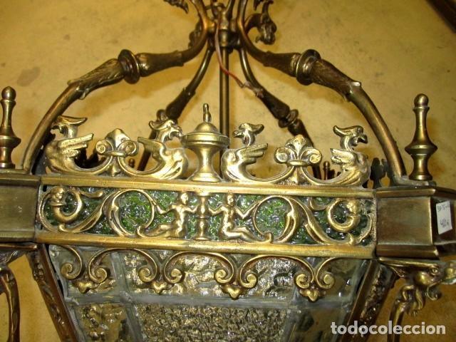 Antigüedades: Farol antiguo de bronce SXIX - Foto 3 - 153222662