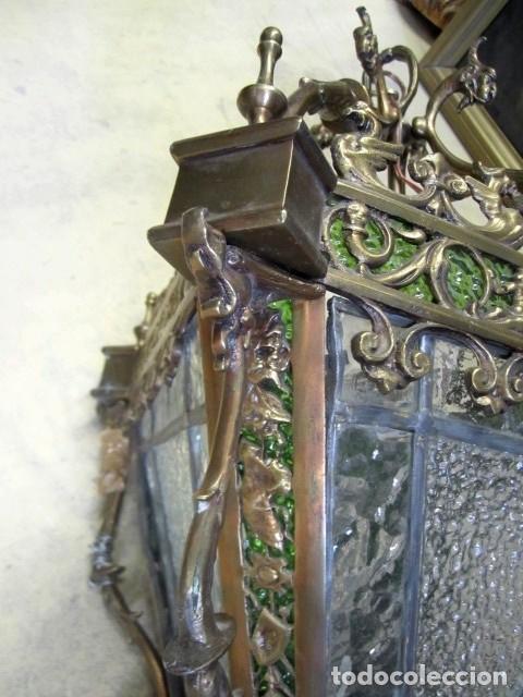 Antigüedades: Farol antiguo de bronce SXIX - Foto 4 - 153222662