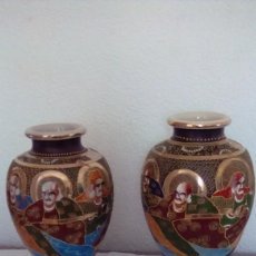 Antigüedades: PAREJA DE JARRONES DE PORCELANA JAPONESA, SATSUMA.PRIMERA MITAD DEL SIGLO XX. Lote 153238362