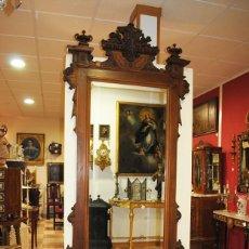 Antigüedades: CONSOLA ANTIGUA MADERA DE NOGAL CON ESPEJO. Lote 153238766