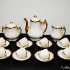 Antigüedades: JUEGO DE CAFÉ ANTIGUO PORCELANA LIMOGES. Lote 153240754