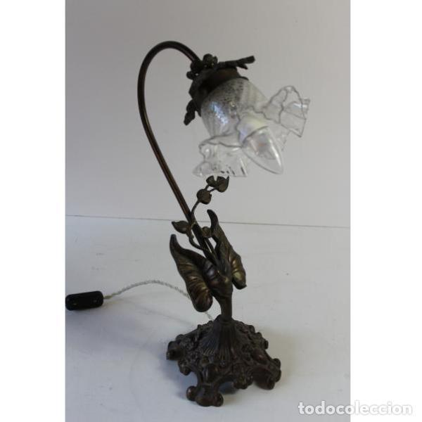 Antigüedades: Antigua lámpara de mesa de hierro - Foto 2 - 153249786