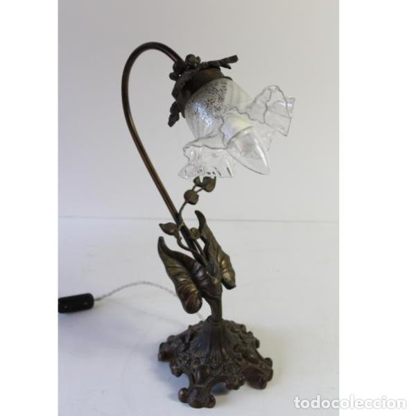Antigüedades: Antigua lámpara de mesa de hierro - Foto 3 - 153249786