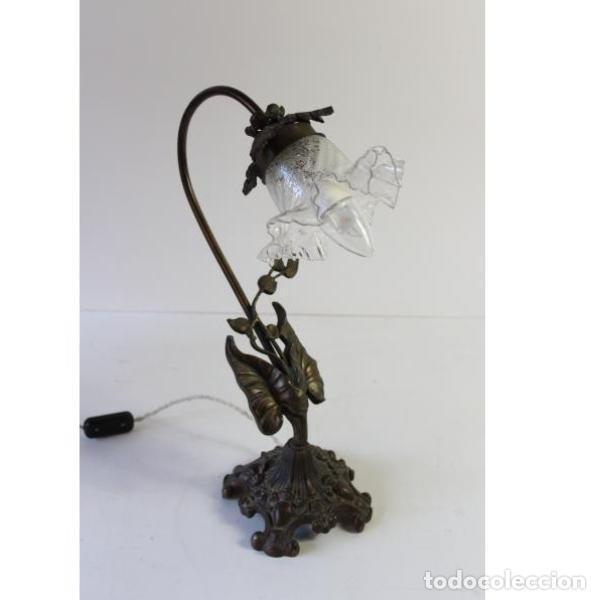 Antigüedades: Antigua lámpara de mesa de hierro - Foto 4 - 153249786
