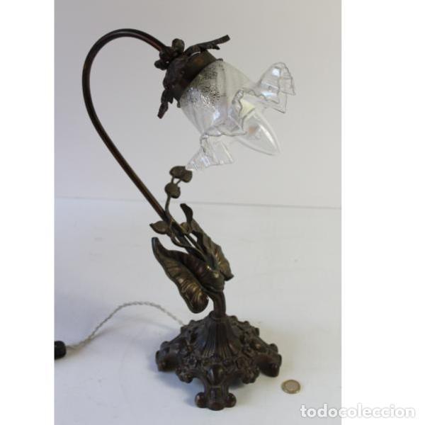 Antigüedades: Antigua lámpara de mesa de hierro - Foto 9 - 153249786