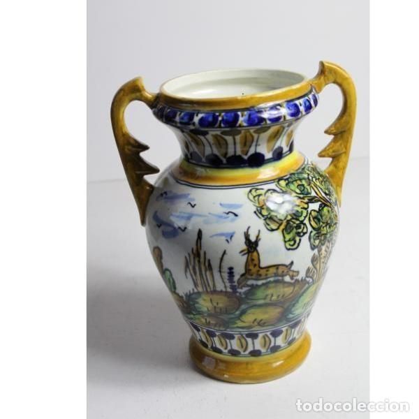 Antigüedades: Antiguo jarrón de cerámica pintado a mano - Foto 3 - 153250378