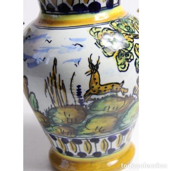 Antigüedades: Antiguo jarrón de cerámica pintado a mano - Foto 4 - 153250378