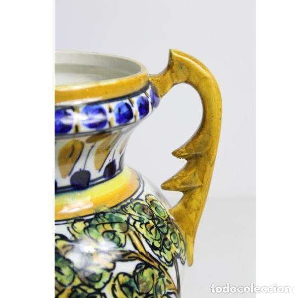 Antigüedades: Antiguo jarrón de cerámica pintado a mano - Foto 5 - 153250378