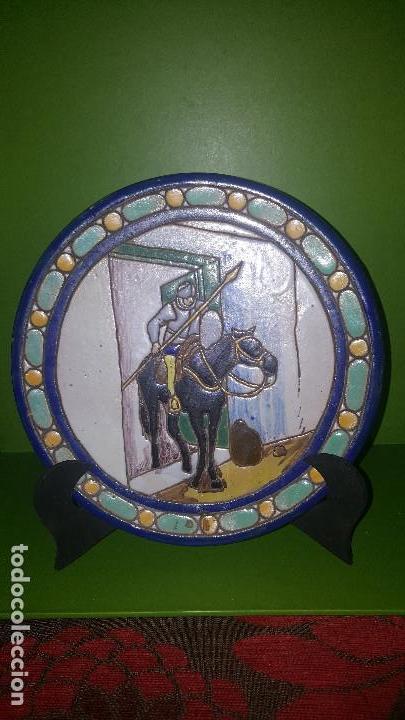 Antigüedades: ANTIGUO PLATO CUERDA SECA DE TRIANA CON ESCENA DEL QUIJOTE - POSIBLEMENTE SANTA ANA - Foto 2 - 153275642