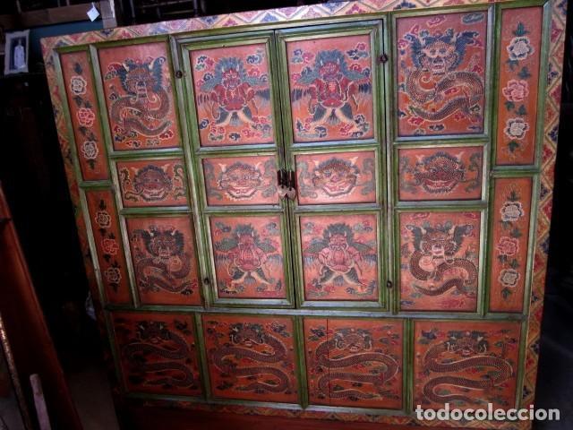 ARMARIO ALACENA ANTIGUO TIBETANO, POLICROMADO (Antigüedades - Muebles Antiguos - Armarios Antiguos)