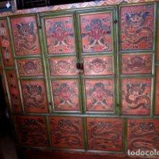 Antigüedades: ARMARIO ALACENA ANTIGUO TIBETANO, POLICROMADO . Lote 153343122