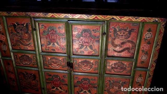 Antigüedades: Armario alacena antiguo tibetano, policromado - Foto 3 - 153343122