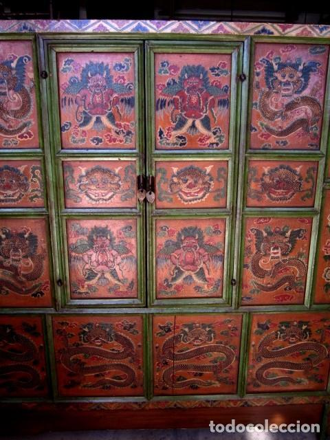 Antigüedades: Armario alacena antiguo tibetano, policromado - Foto 5 - 153343122