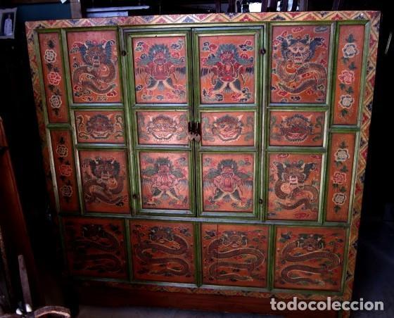 Antigüedades: Armario alacena antiguo tibetano, policromado - Foto 6 - 153343122