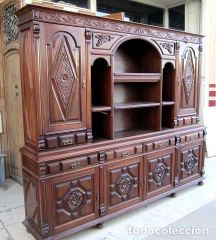 Antigüedades: Aparador librero antiguo en madera de nogal - Foto 6 - 153343686