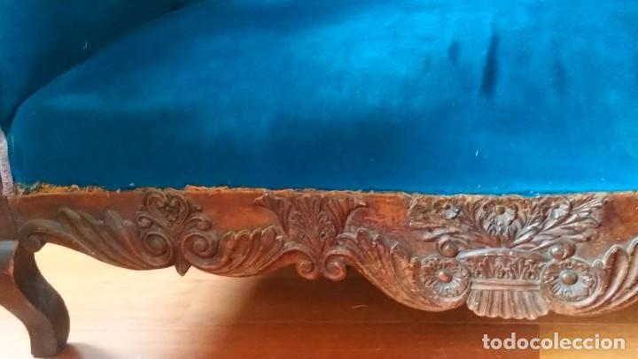 Antigüedades: sofa imperio pp s. XIX Tapizado en terciopelo azul.. madera de caoba - Foto 3 - 153343922