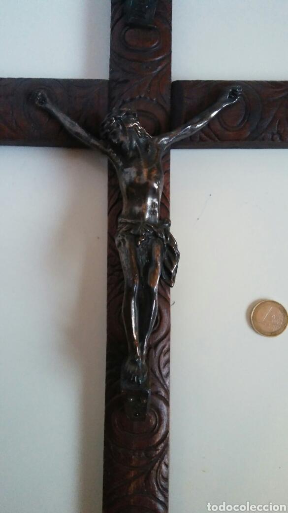 Antigüedades: Crucifijo madera elaborada - 24.5 x 45 cm - Foto 4 - 153378637