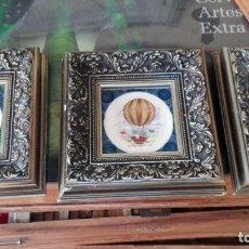 Antigüedades: TRES AZULEJOS ENMARCADOS CON ESCENAS DE GLOBOS AEROSTATICOS. Lote 160949685