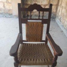 Antigüedades: SILLON BUTACA SILLA MADERA Y ENEA RECOGIDA A CARGO DEL COMPRADOR. Lote 153480574