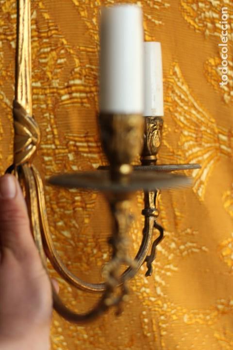 Antigüedades: ANTIGUOS APLIQUES Aplique DE BRONCE dorado ESTILO Luis XV - Foto 9 - 149985206