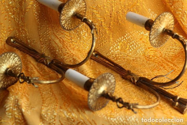 Antigüedades: ANTIGUOS APLIQUES Aplique DE BRONCE dorado ESTILO Luis XV - Foto 2 - 149985206