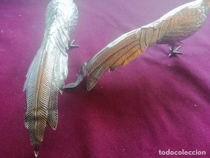Antigüedades: Juego de pájaros antiguos de plata de adorno. 26 ctm. largo 10 ctm. alto 4,5 ctm. ancho - Foto 4 - 153529206