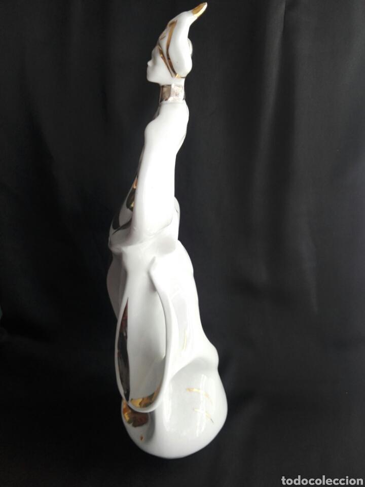 Antigüedades: Gran figura porcelana arlequin pintura al oro Galos 38,5 cm altura - Foto 4 - 153552308