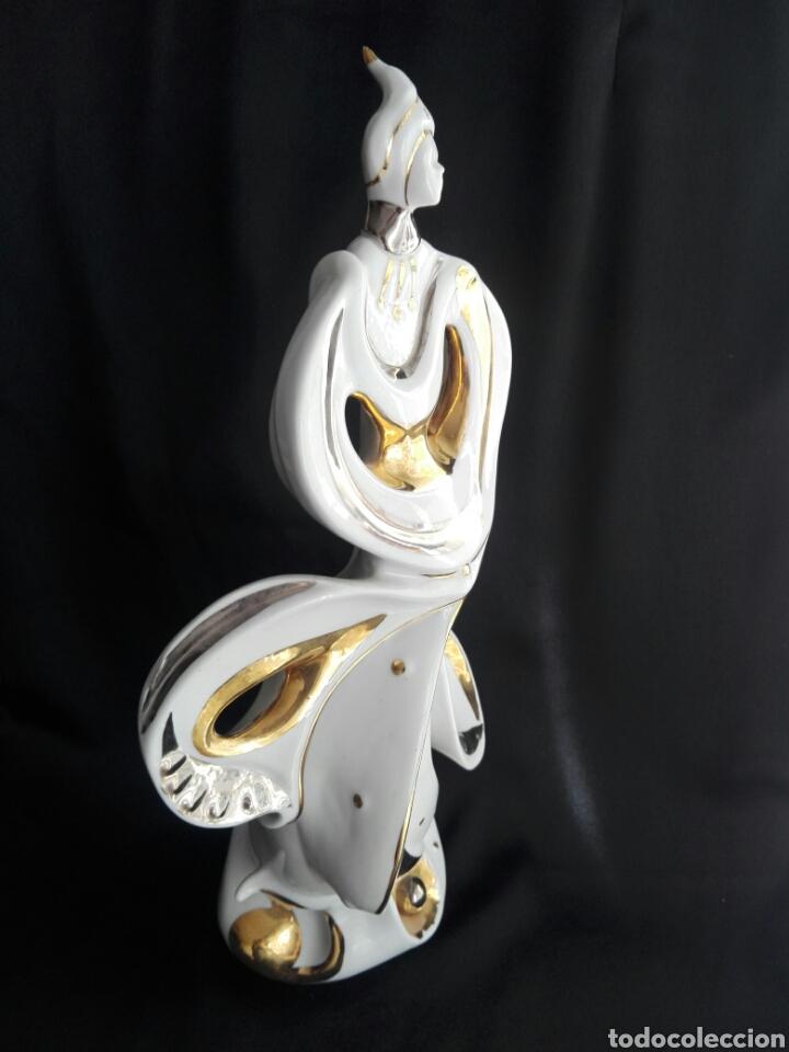 Antigüedades: Gran figura porcelana arlequin pintura al oro Galos 38,5 cm altura - Foto 6 - 153552308