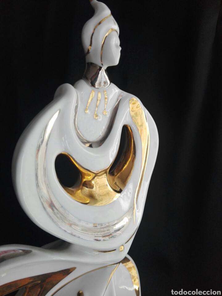 Antigüedades: Gran figura porcelana arlequin pintura al oro Galos 38,5 cm altura - Foto 7 - 153552308