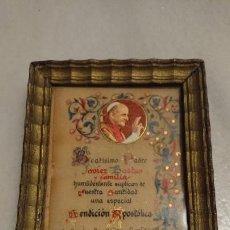 Antigüedades: ANTIGUO CUADRO / CUADRITO BENDICIÓN AL PADRE JAVIER BASTIA DE NUESTRA SANTIDAD EL PAPA PAU VI. Lote 153555634