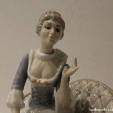 Antigüedades: FIGURA DE CERÁMICA VALENCIANA DE LA MARCA TENGRA,DAMA CON GATO.. Lote 153577986