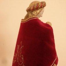 Antigüedades: CAPA PARA IMAGEN VESTIDERA O CAP I POTA DE PEQUEÑO TAMAÑO. TERCIOPELO, SEDA Y ENCAJES ORO. PPS. XX.. Lote 153597110