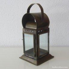 Antigüedades: ANTIGUO FAROL DE BRONCE O LATÓN Y CRISTAL. Lote 153600190