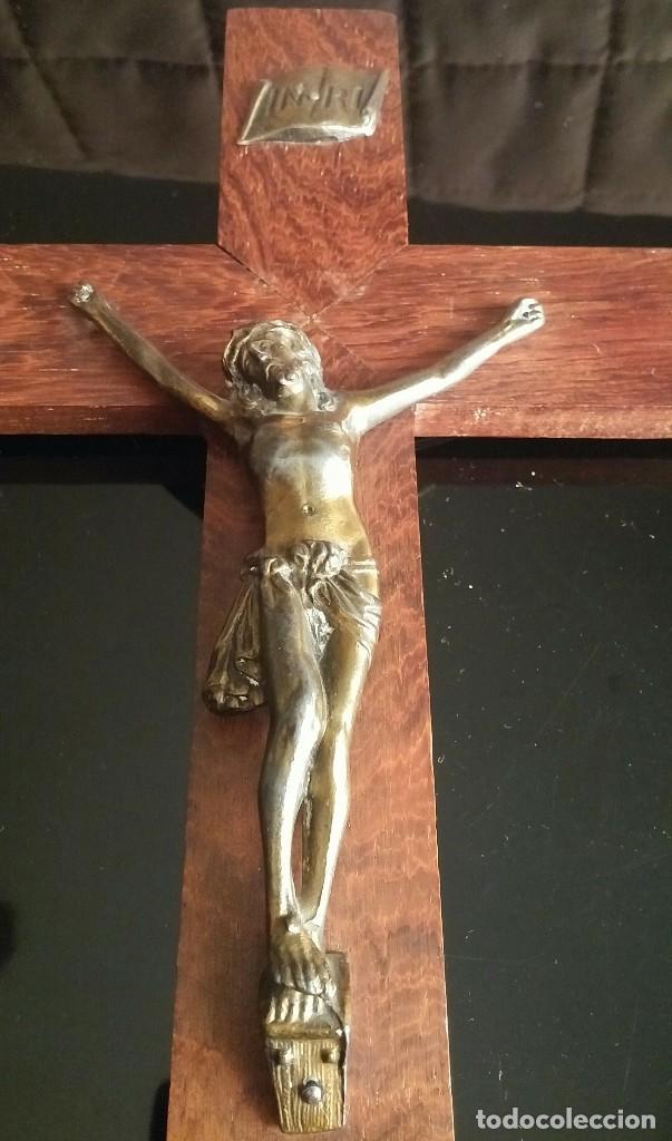 Antigüedades: Crucifijo de pared de madera - Foto 2 - 153607774